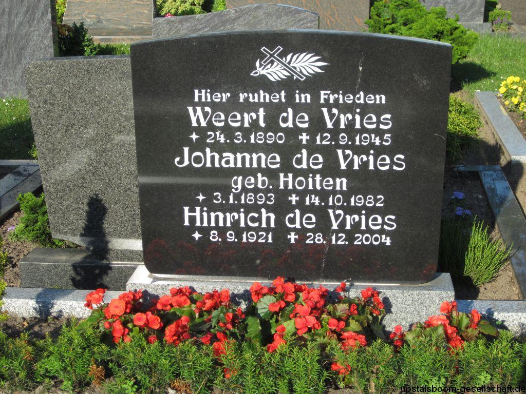 Grab Von Weert Vries De 24031890 12091945 Friedhof